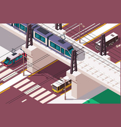 3d isometric urban railway bridge over road vector image