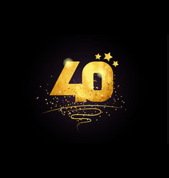 40 number icon design with golden star and glitter vector image