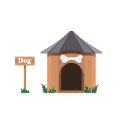 A dog house with a sign on white vector