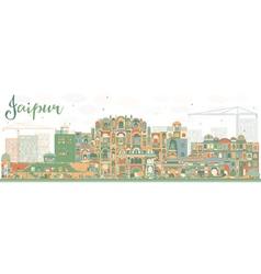 Abstract jaipur skyline with color landmarks vector