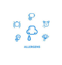 allergy outline icons set with runny nose and vector image