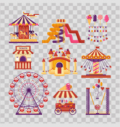 Amusement park flat elements with carousels vector
