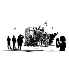 Ancient Castle Tourists vector image