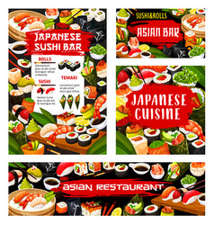 Asian sushi rolls bar japanese seafood restaurant vector