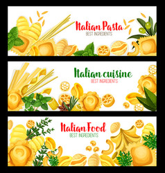 banners for italian pasta cuisine vector image