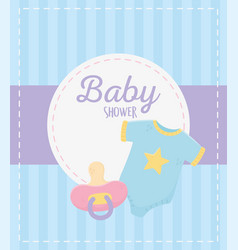 Bashower blue bodysuit and pacifier vector
