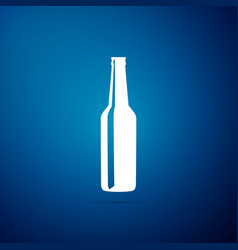 Beer bottle icon isolated on blue background vector