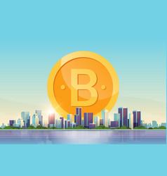 bitcoin virtual money golden coin icon crypto vector image