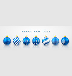 blue shiny glowing christmas balls xmas glass vector image