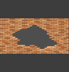 broken brick wall with hole 3d isometric view vector image