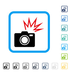 Camera flash framed icon vector