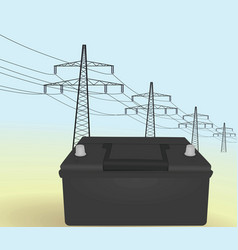 Car battery in front transmission towers vector