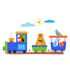 Childish train with cute animals flat vector