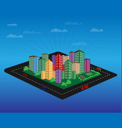city with high-rise buildings vector image