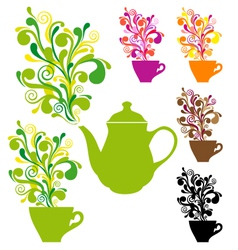 coffee and tea with colorful swirls vector image