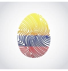 colombian flag fingerprint colorful icon vector image