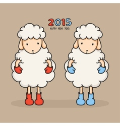 Colorful cute sheep in boots Happy new year 2015 vector image