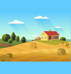 Colorful of farmhouse in vector