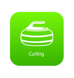 Curling icon green vector