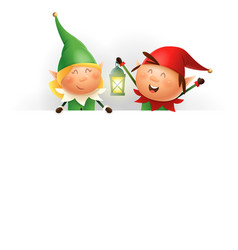 cute christmas elves girl and boy on billboard vector image