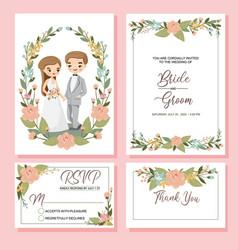 Cute couple with wedding invite set vector