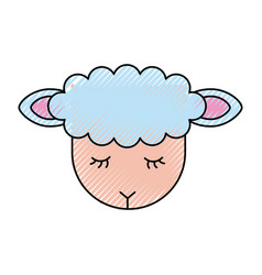 Cute lamb character icon vector