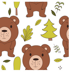 Cute woodland animals in cartoon style seamless vector