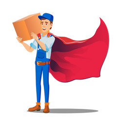 delivery service man in uniform and cloak of vector image