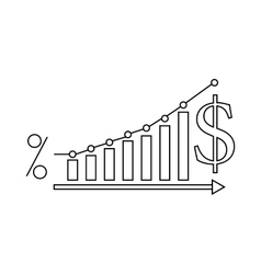 Dollar Increase graph icon outline style vector image