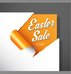 easter sale text uncovered from torn paper corner vector image