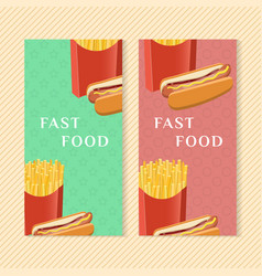 fast food banners with hot dog and french fries vector image