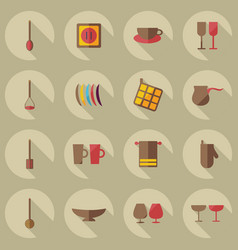 flat modern design with shadow icons kitchen vector image