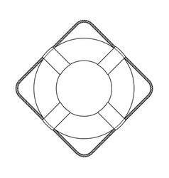 flat outline lifebuoy life buoy icon vector image