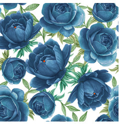 floral watercolor seamless pattern elegant peonies vector image