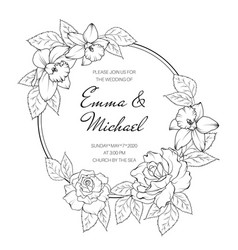 floral wreath round frame rose peony narcissus vector image