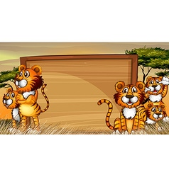 Frame template with tigers in the field vector