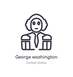 George washington outline icon isolated line from vector