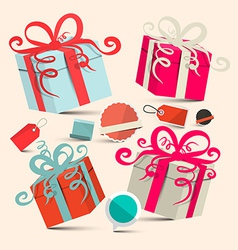 Gift Boxes Set with Empty Labels - Retro vector image