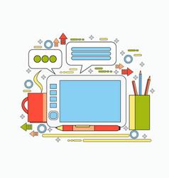 Graphic designer tool on workplace digital tablet vector