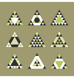 green geometric tribal triangle icons set vector image