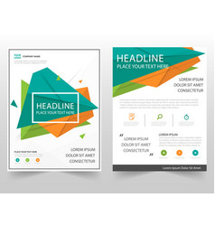 Green orange triangle geometric leaflet brochure vector