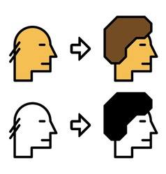 Growth hair icons before and after vector