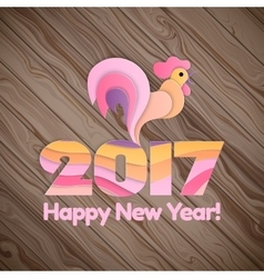 Happy New Year 2017 on the wooden background vector
