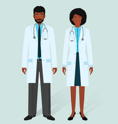 hospital staff concept man and woman african vector image