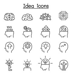 idea creative icon set in thin line style vector image