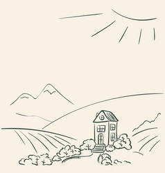 Idyllic rural landscape doodle secluded cozy vector