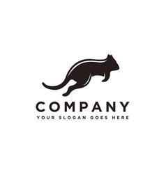 jumping quokka animal logo template vector image