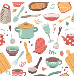 kitchen pattern utensil scandinavian cooking vector image