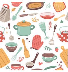 Kitchen pattern utensil scandinavian cooking vector