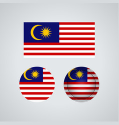 malaysian trio flags vector image